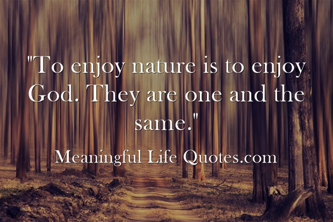 """""""To enjoy nature is to enjoy God. They are one and the same."""""""