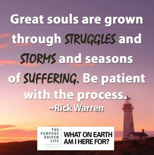 Great soils are grown through struggles and storms and seasons of suffering.  Be patient with the process.