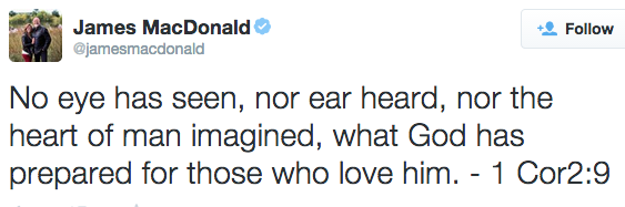 No eye has seen, nor ear heard, nor the heart of man imagined, what God has prepared for those who love him. - 1 Cor2:9
