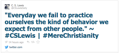 """Everyday we fail to practice ourselves the kind of behavior we expect from other people."" ~ #CSLewis 
