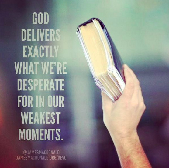 God delivers exactly what we're desperate for in our weakest moments.