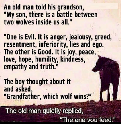 """An old man told his grandson, """"My son there is a battle between two wolves inside us all.""""   """"One is Evil.  It is anger, jealousy, greed, resentment, inferiority and ego.  The other is Good.  It is joy, peace, love, hope, humility, kindness, empathy and truth."""" The boy thought about it and asked, """"Grandfather, which wolf wins?"""" The old man quietly replied, """"The one you feed."""""""