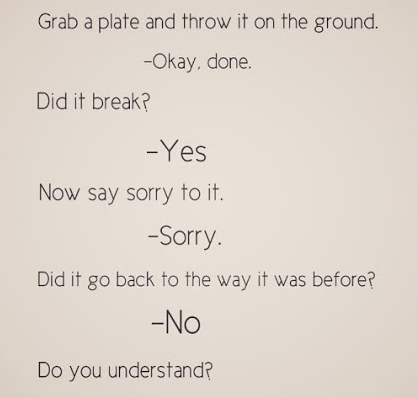 Grab a plate and throw it to the ground. - Okay Done. Did it break? - Yes. Now say sorry to it. - Sorry. Did it go back to the way it was? - NO. Now do you understand?