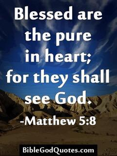 Blessed are the pure in heart; for they shall see God.