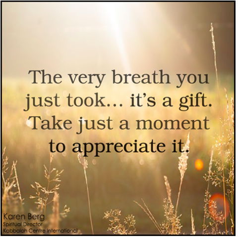 The very breath you just took...it's a gift.  Just take a moment to appreciate it.