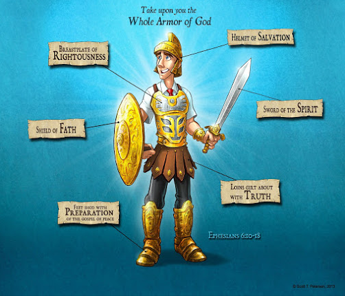 Our battles are not against flesh and blood, but... There are daily battles! Are you dressed and ready!? Could you imagine being, or watching, a single person play football without any protection, when everyone else is wearing it!?   Don't go unprotected!  God gives you HIS armor, freely.  It's already been built, paid for, and custom fitted just to you! The price of this armor is too great to just let it go unused!! God has a plan and a purpose.  Be ready.