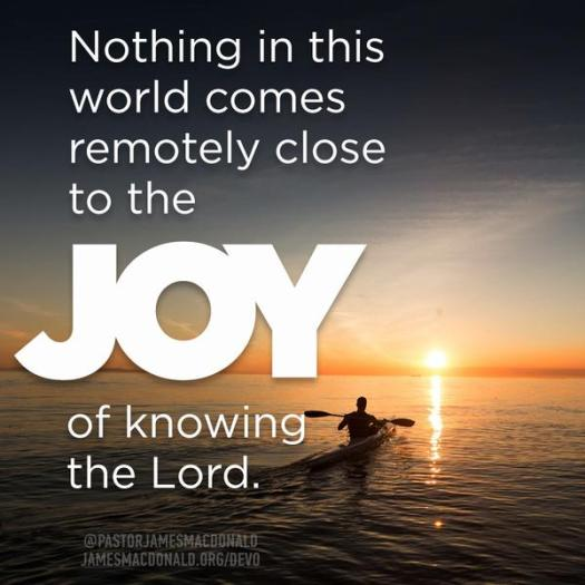 Nothing in this world comes remotely close to the joy of knowing the Lord. Psalm 34:8