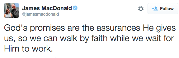 God's promises are the assurances He gives us, so we can walk by faith while we wait for Him to work.