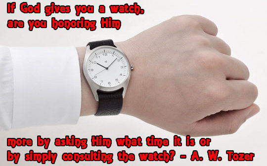 If God gives you a watch, are you honoring Him more by asking what time it is or by simply consulting the watch? - A. W. Tozer