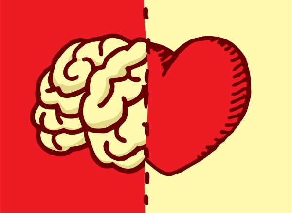 Cartoon illustration of comparison between heart and brain choice