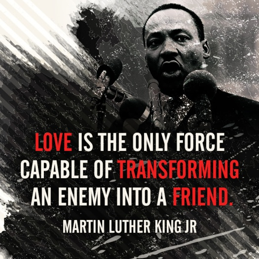 Love is the only force capable of transforming an enemy into a friend - Martin Luther King Jr.