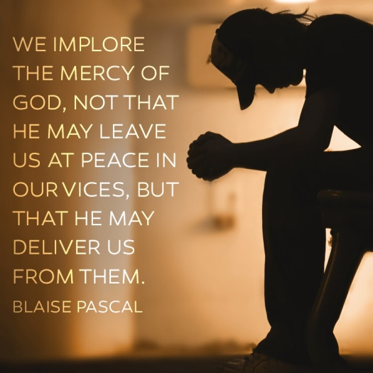 We implore the mercy of God, not that He may leave us in peace with our vices, but that He may deliver us from them.  Blaise Pascal